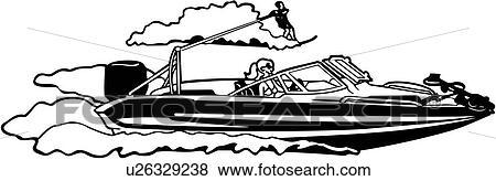 Clip Art of , boat, ocean, power, power boat, speed, sport