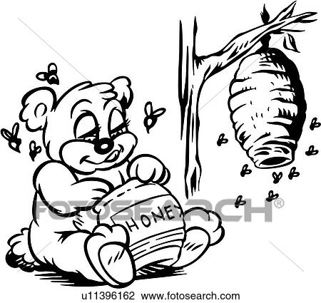Clipart of , animal, bear, bee, beehive, buzz, buzzing