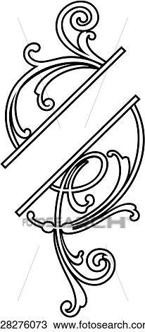 Clipart of , border, fancy frame, scroll, u28276073