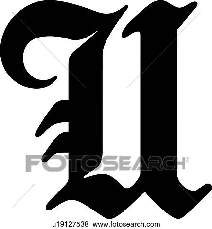 alphabet old english capital letter lettered u