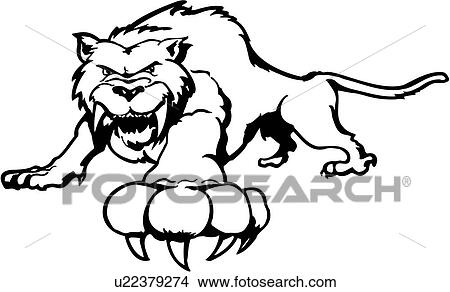 Clipart of , animal, cat, fang, feline, sabre tooth, tiger