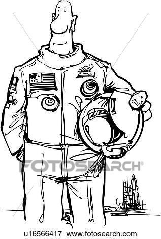 رائد فضاء, رسم كاريكتوري, أسرة, المهن, الفضاء, Clip Art