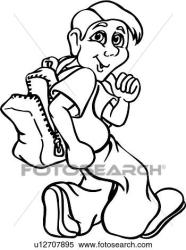backpack kid boy male child student cartoon clipart cartoons clip drawings illustration fotosearch vector