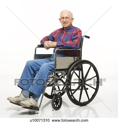wheelchair man ab workout chair portrait of caucasion elderly sitting in smiling at viewer