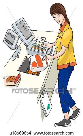女, で 働くこと, a, コンビニエンスストア, イラスト イラスト | u18569654 | Fotosearch