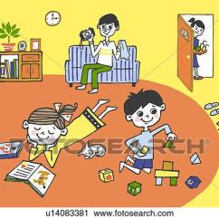 Living Room Pictures Clipart Furniture Orange County Ca Of Family Relaxing In A Painting Illustration Illustrative Technique
