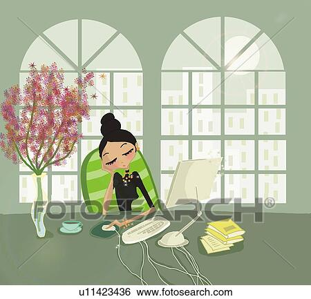 stock illustration of young woman