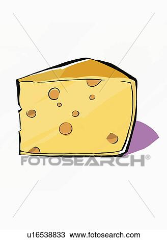 Drawing of A wedge of yellow cheese with holes u16538833