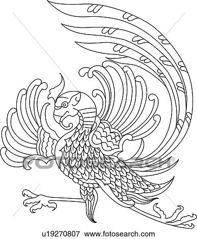Stock Illustration of Mystical bird pattern u19270807