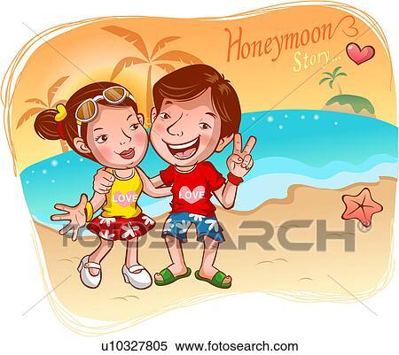 stock illustration of beach honeymoon
