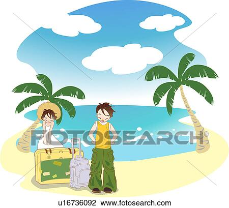 clip art of young couple vacation
