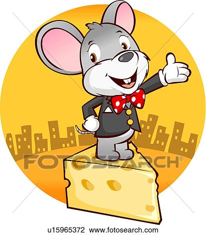 Clip Art of Mouse standing on wedge of cheese u15965372