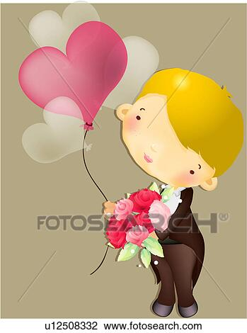 clip art of boy with flowers