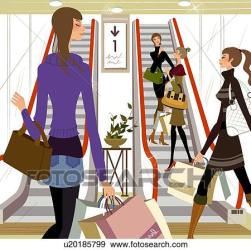 mall shopping illustration clipart four clip fotosearch illustrations drawings