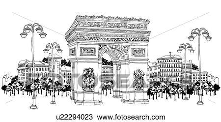 Décoratif, pierre, portail, par, bâtiments Dessin