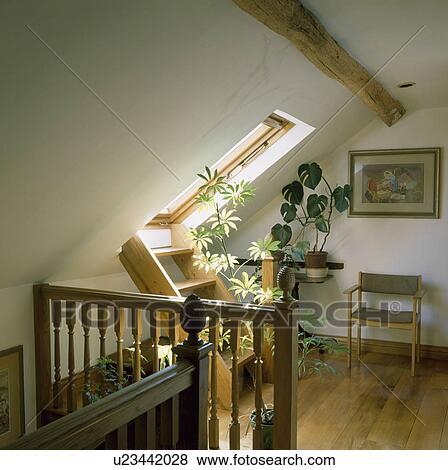 bois escalier echelle a velux fenetre sur grenier atterrissage a plancher bois et petit chaise bois banque de photo