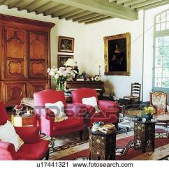 Traditional Armchairs For Living Room Paint Ideas Grey Stock Photography Of Pink And Antique Cupboard In French Country Fotosearch