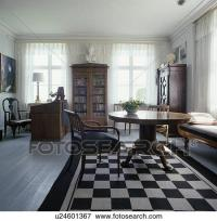 Picture of Black+white chequerboard rug in white living ...