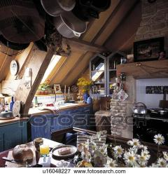 attic cluttered distressed kitchen cupboards fitted effect paint clipart fotosearch
