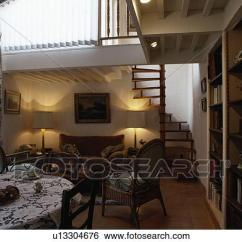 Open Plan Staircase In Living Room White Wooden Blinds Small Openplan Dining And With To Mezzanine