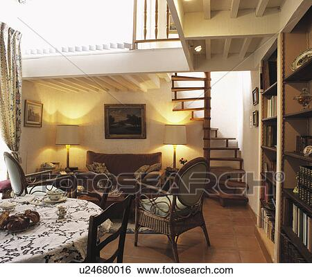 open plan staircase in living room how to arrange furniture a large square stock images of small openplan dining and with mezzanine