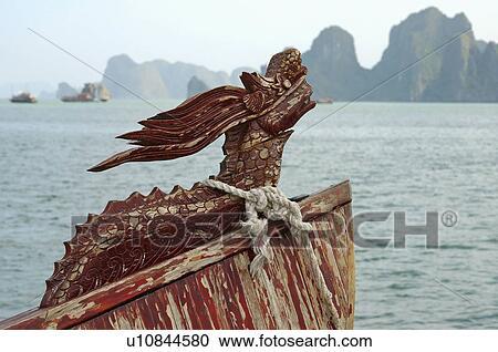 nature figurehead vietnamese junk boat halong Stock Image | u10844580 | Fotosearch