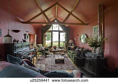 living room extension pictures ex display furniture stock photography of piano in red with apex ceiling