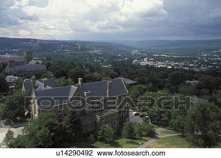 university, Cornell, Ithaca, NY, New York, Finger Lakes, Aerial view of the campus of Cornell University from the University Clock Tower. Stock ...