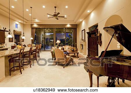 Stock Photograph of Luxury open plan living room kitchen