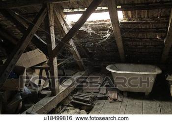 attic junk cobwebs space clip toys roof loft fotosearch alamy