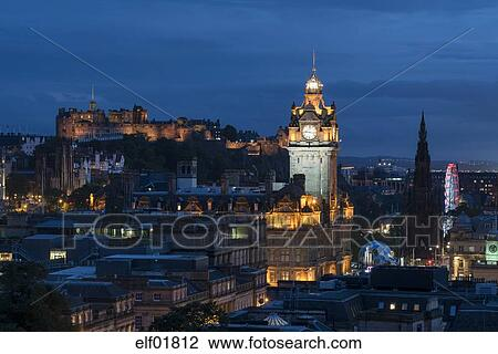 United Kingdom Scotland Edinburgh Old Town With Tower Of