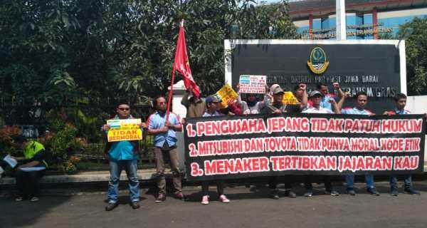 aksi buruh di bandung 13 mei 2019
