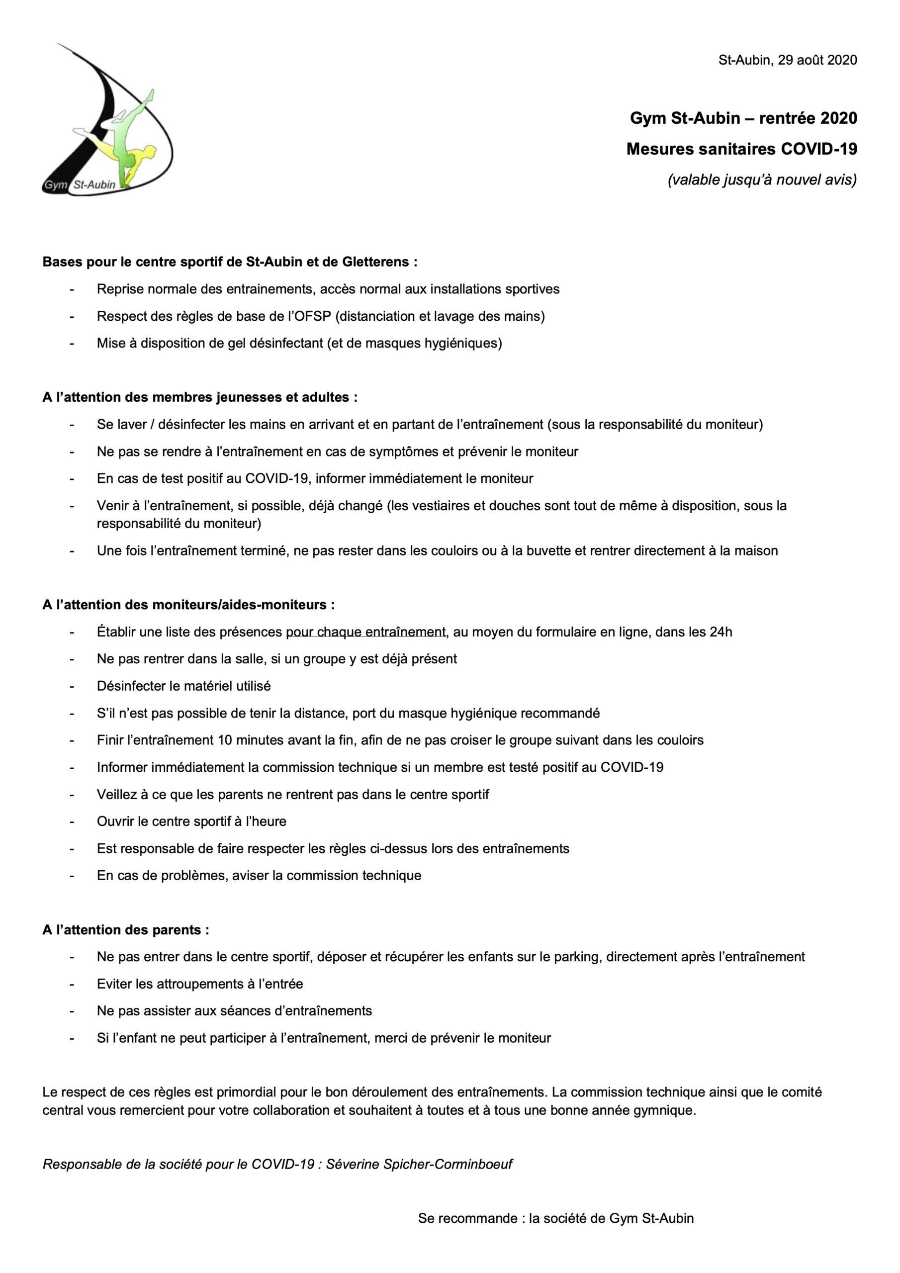 Gym St-Aubin - rentrée 2020 : Mesures sanitaires COVID-19