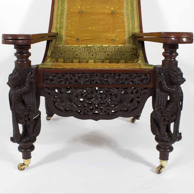 19th Anglo Indian Carved Plantation Or Planters Chair