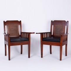 British Colonial Chair Memory Foam Cushion For Recliner Pair Of Antique Arm Chairs