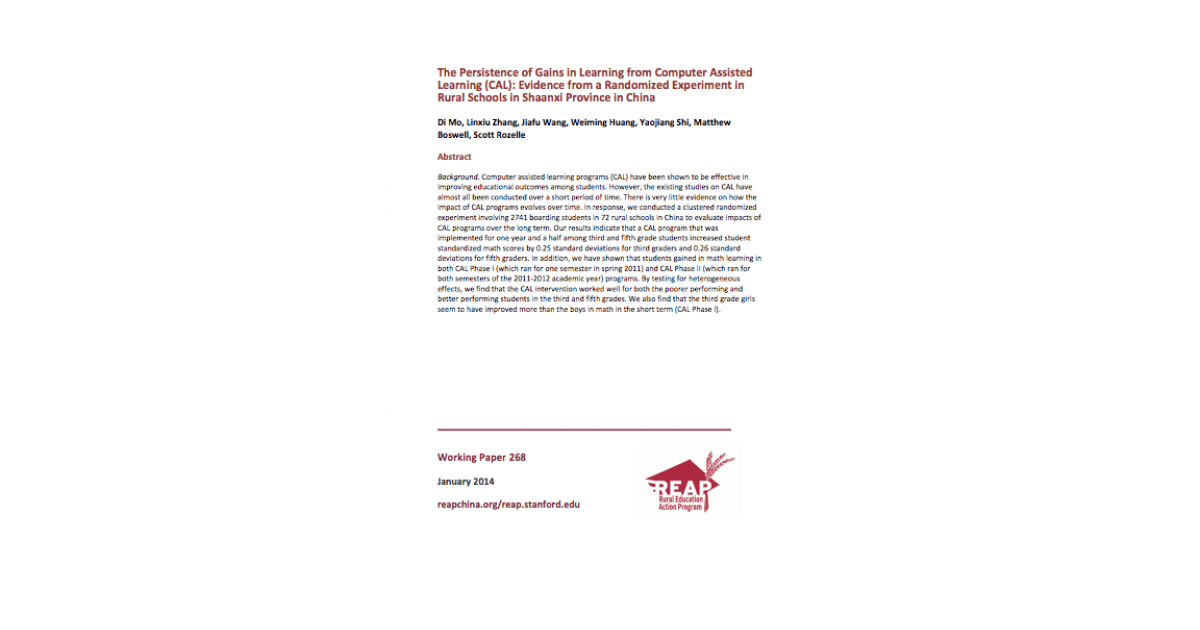 FSI | REAP - The Persistence of Learning Gains from Computer Assisted Learning: Experimental Evidence from China