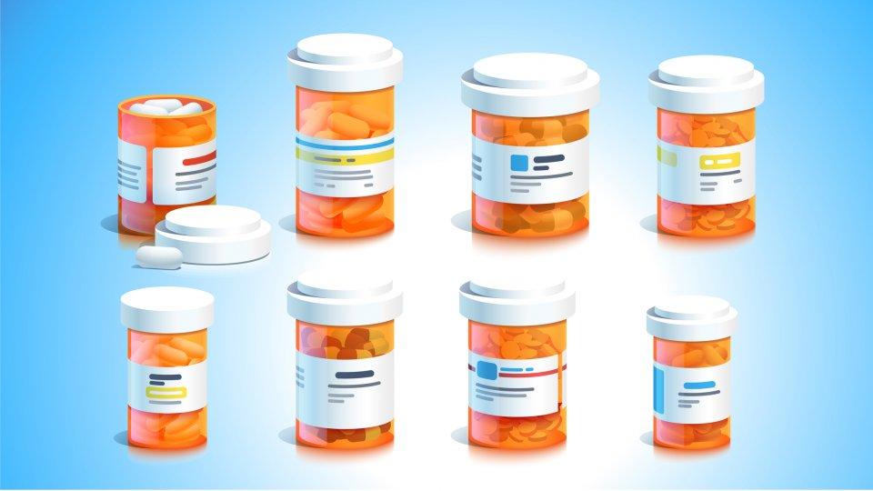 Ilustración de Getty Images de frascos de pastillas