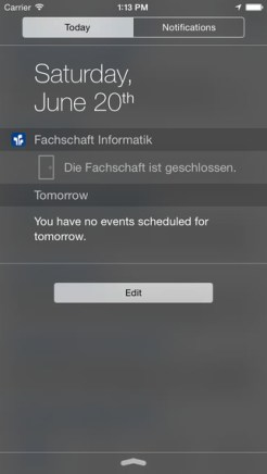 Türstatus des Fachschaftsraumes im Notificationcenter