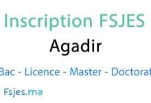 inscription FSJES Agadir 2020-2021