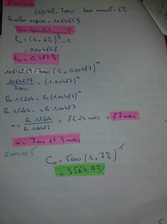 exerices sur les intérêts composés 1