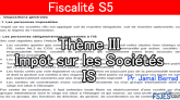 Fiscalité cours s5 Impôt sur les Sociétés