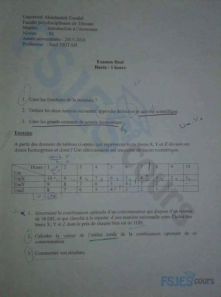 examens des ann u00e9es ant u00e9rieures en introduction  u00e0 l
