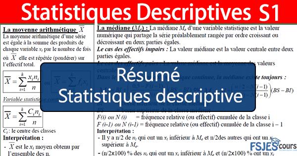 Résumé de Statistiques descriptive s1 - FSJES cours