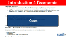 Introduction à l'économie cours