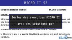 Séries des exercices MICRO II