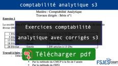 Exercices comptabilité analytique avec corrigés