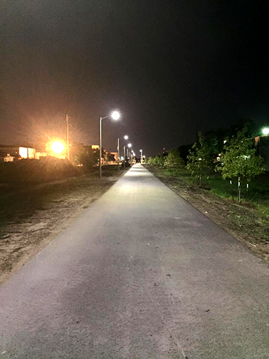 The Lafitte Greenway lighting became operational this week.  Photo courtesy Jennifer Ruley.