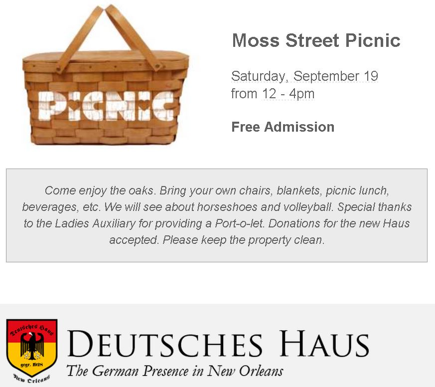 Bring your picnic basket, blanket and your friends to 1700 Moss this Saturday and enjoy a free fun day.