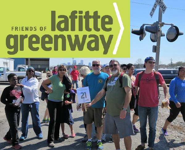 Peter Hickman leads group 21 of happy walkers on the Lafitte Greenway on March 5, 2016