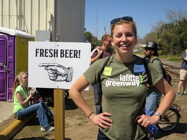 Sophie Harris, Executive Director of Friends of Lafitte Greenway, was very happy that over 1,000 people hike the Lafitte Greenway on March 5, 2016